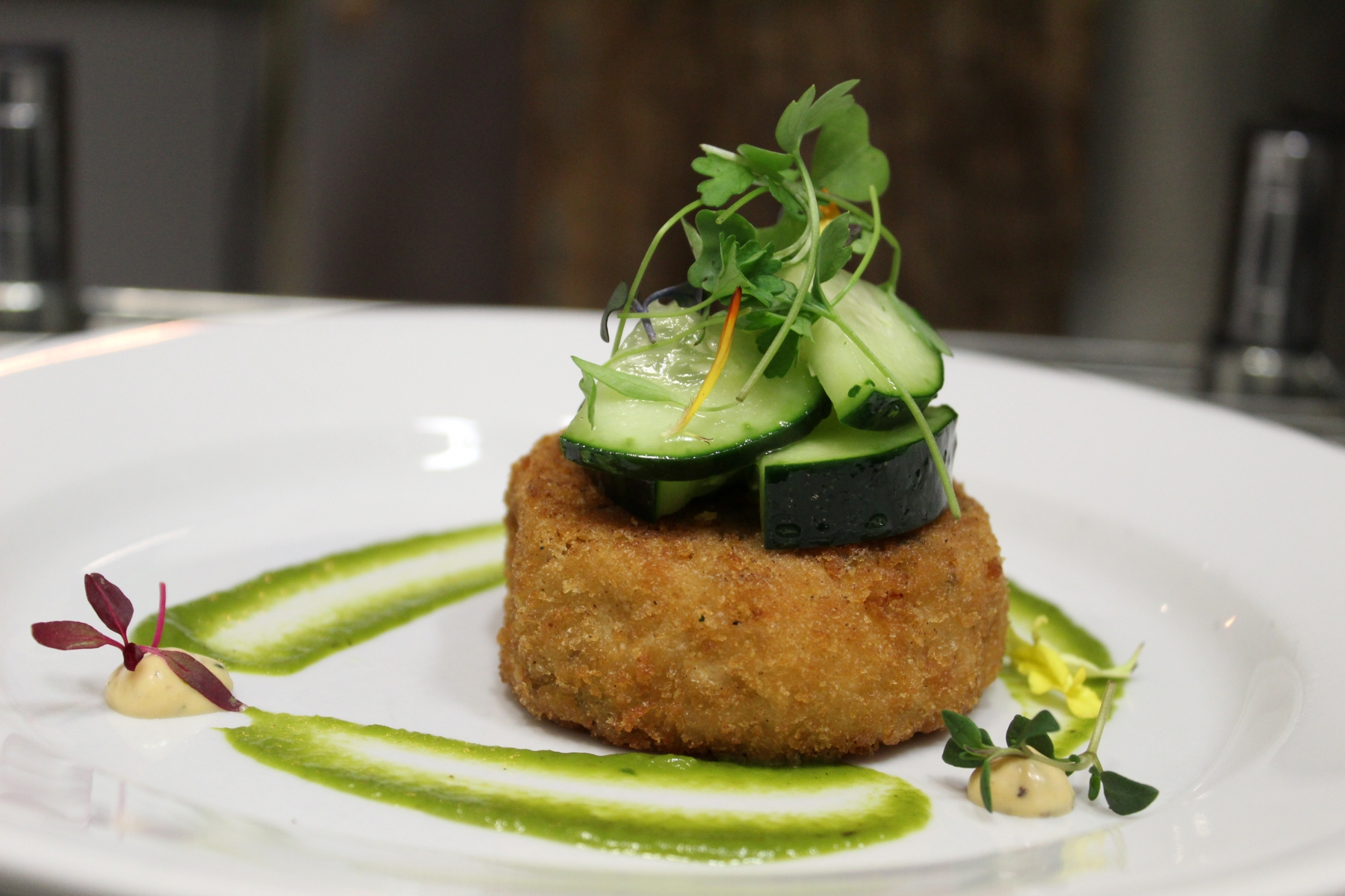 Crab Cake with Avocado Sauce
